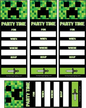 Free Printable Minecraft Birthday Party Invitation Kids Parties