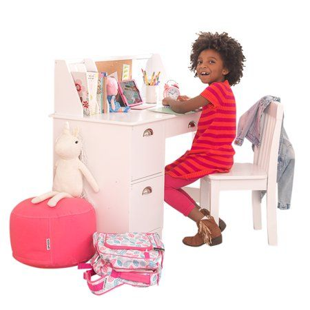 Stupendous Kid Kraft Kids Desk With Chair And Corkboard White Or Ocoug Best Dining Table And Chair Ideas Images Ocougorg