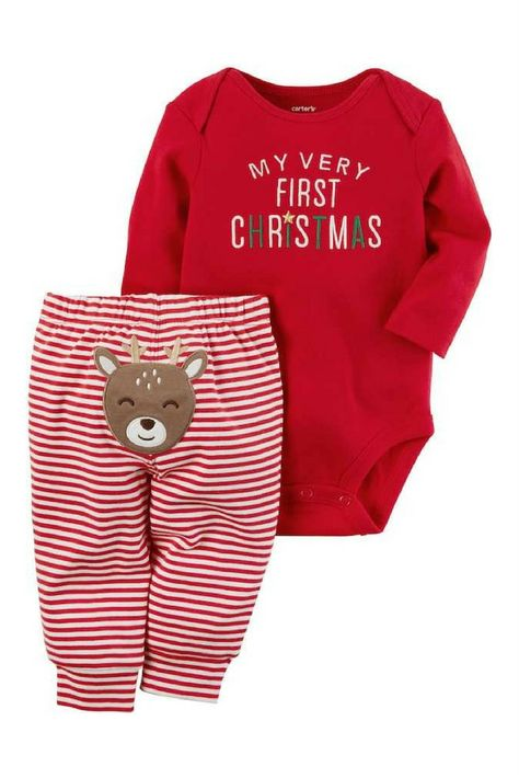 47eb1a362 My Very First Christmas Bodysuit and Reindeer Striped Pants - cute outfit  for baby boy or girl #affiliate
