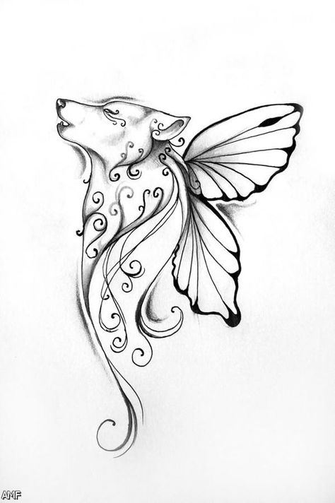 Image Result For Flying Fox Coloring Page Wolf Tattoo Design