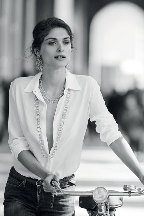 Elisa Sednaoui by Peter Lindbergh for Buccellati 2015 - (A beautiful woman in a white shirt pretty much surmises my taste in everything - always classy, elegant, timeless, #minimalism).