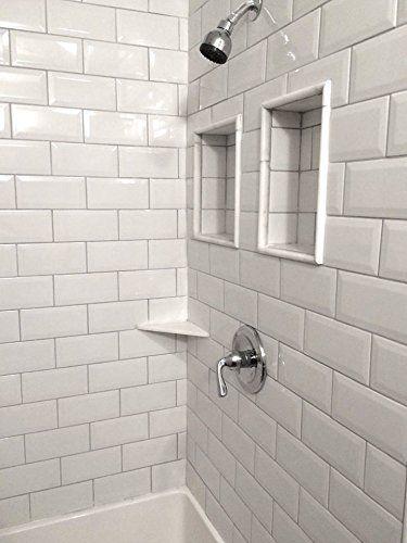 4x8 White Wide Beveled Subway Ceramic Tile Backsplashes Walls