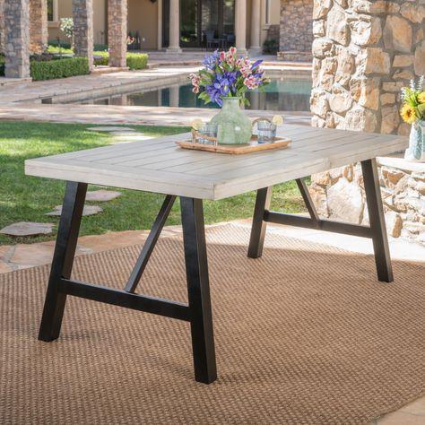 Vincenzo Outdoor Acacia Wood Dining Table, Light Grey Wash, Black