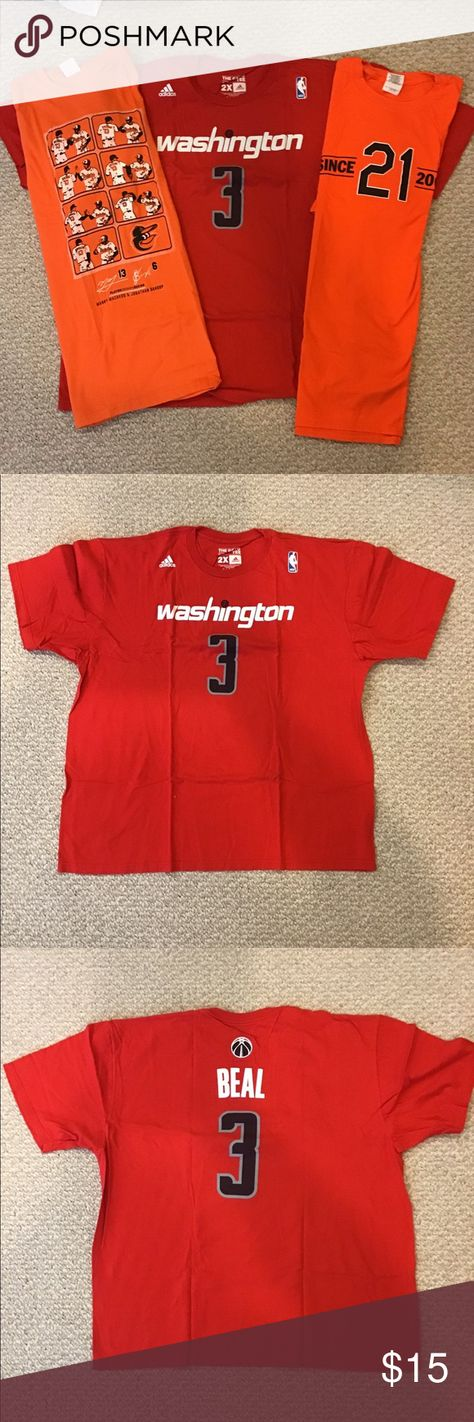3 Seldom worn XL T-shirt's. NATIONALS AND CAPS Support your local team and wear an Orioles or Wizards T-shirt. No holes, rips, tears or stains. Reach out also if you just want a single shirt! Shirts