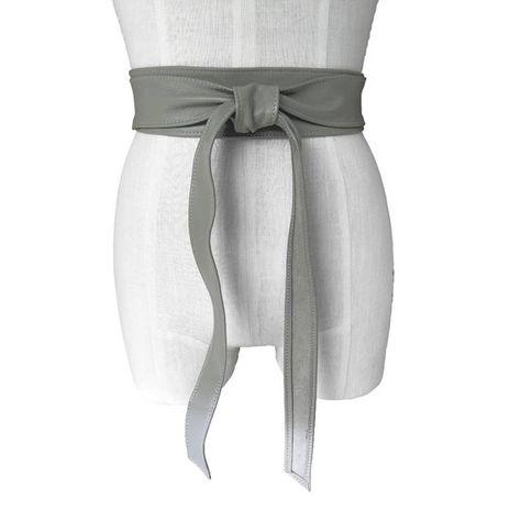 Gray obi belt Leather Wrap Belt Soft Leather Tie Belt