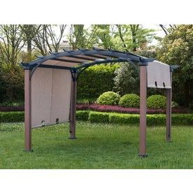 Allen Roth 9 Ft 8 In W X 9 Ft 8 In L X 7 Ft 10 3 4 In Tan Black Metal Freestanding Pergola With Canopy Lowes Com Pergola Gazebo Pergola Canopy