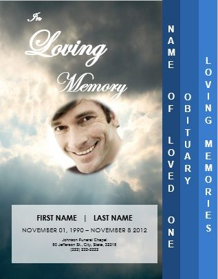Ray of Lightu0027 Clouds 4 Step Graduated Funeral Template for Order - memorial service template word