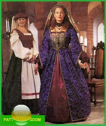 McCalls 2243 Ladies French Medieval Dress Patterns Plus Size ...