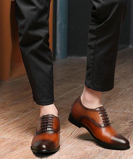 Brazowe Buty Slubne Recznej Produkcji Podwyzszajace Wzrost 7cm Dress Shoes Men Dress Shoes Men Dress