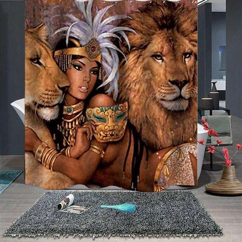 Wild Lion Girl Print Waterproof Shower Curtain Tychome