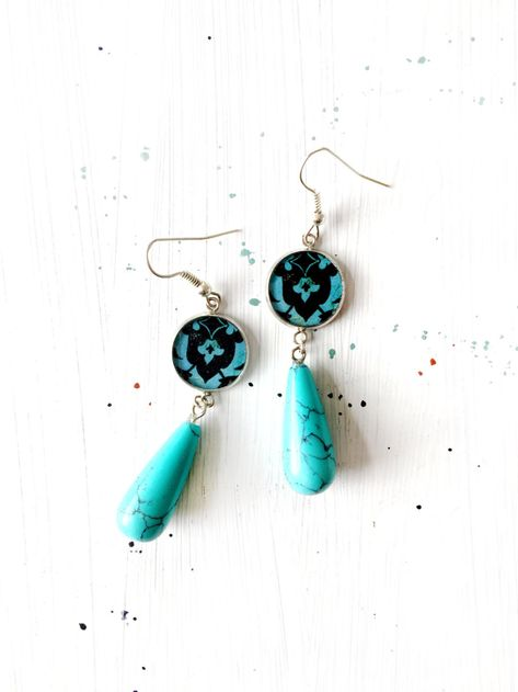available in blue or turquoise or purple to match the bracelets we sell. Drop earrings using porcelain /& shamballa beads