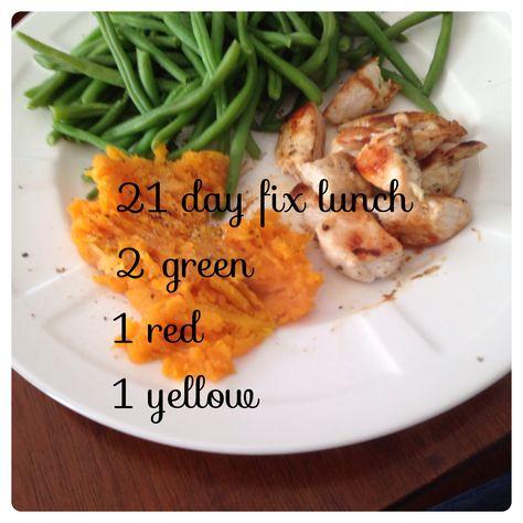 #21 day fix  21 day fix lunch! Chicken, sweet potato, green beans Www.beachbodycoach.com/chicat415