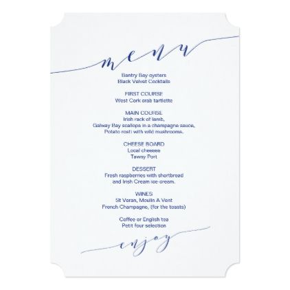 Minimalist Navy Blue Wedding Menu Welcome Message Menu