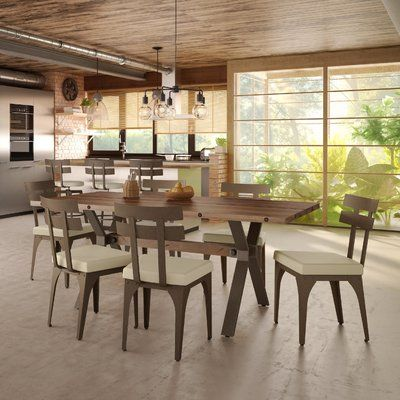 Poe 7 Piece Extendable Dining Set | Metal dining chairs