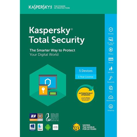Kaspersky Total Security 2018 5 Device 1 Year Key Code 5 Users