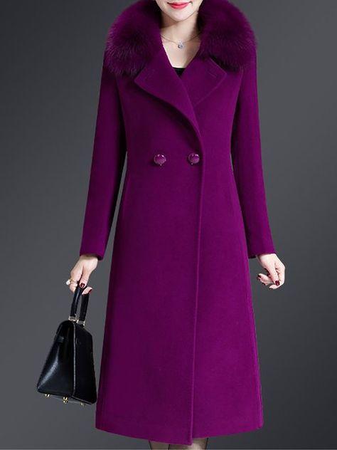 Shop Coats - Solid Shift Elegant Long Sleeve Coats online. Discover unique designers fashion at stylewe.com.