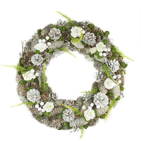 """19"""" White Frosted Pine Cone, Roses and Twigs Artificial Christmas Wreath - Unlit"""