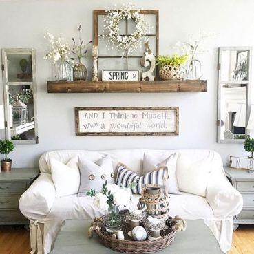 45 Awesome Farmhouse Living Room Decor Ideas With Images Wall Decor Living Room Room Wall Decor Decor