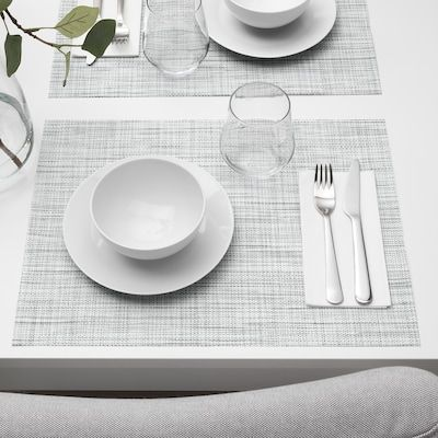 Snobbig Place Mat White Black Ikea In 2021 Dining Table Placemats Placemats Grey Placemats