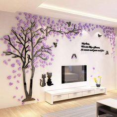 Mirror Wall Stickers, Wall Stickers Home Decor, Wall Decals, Wall Shelf Decor, Wall Art Decor, Mur Diy, 3d Sticker, Tree Decals, Tree Wall Murals