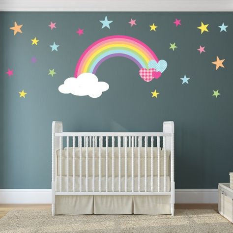 """Magical Rainbow Nursery Wall Stickers  Starting from £14.95  Made from self adhesive fabric Simply """"Peel & Stick"""" to transform your baby's nursery room within hours! www.enchanted-interiors.co.uk"""