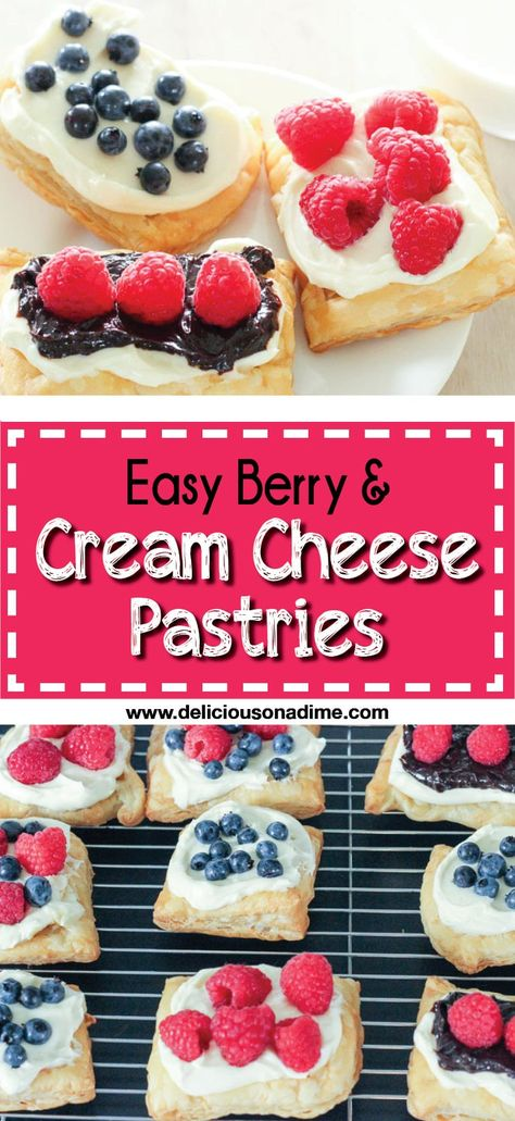This Easy Berry and Cream Cheese Pastries recipe takes buttery puff pastry, tops it with a rich cream cheese filling and juicy fresh blueberries or raspberries (and chocolate, if you want!). They take about 15 minutes of active time to make and you can make the components ahead of time, making them perfect for breakfast, brunch or dessert! They're the best! #puffpastryrecipes #easybrunchrecipes