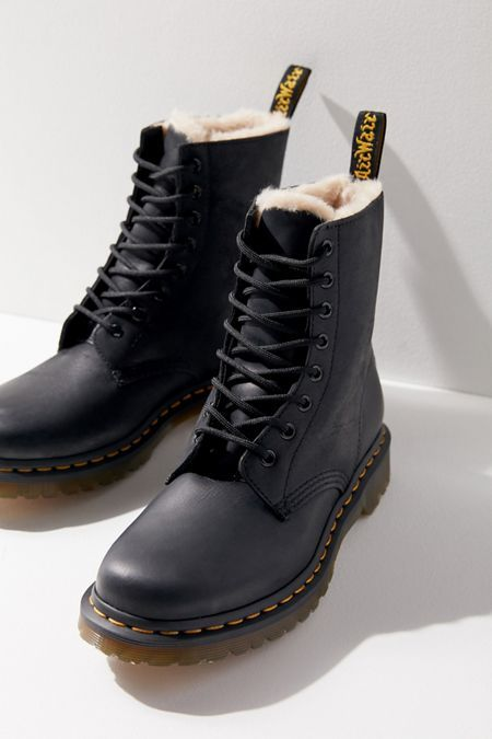Dr. Martens Serena 8 Eyelet Boots in White | Urban Outfitters UK