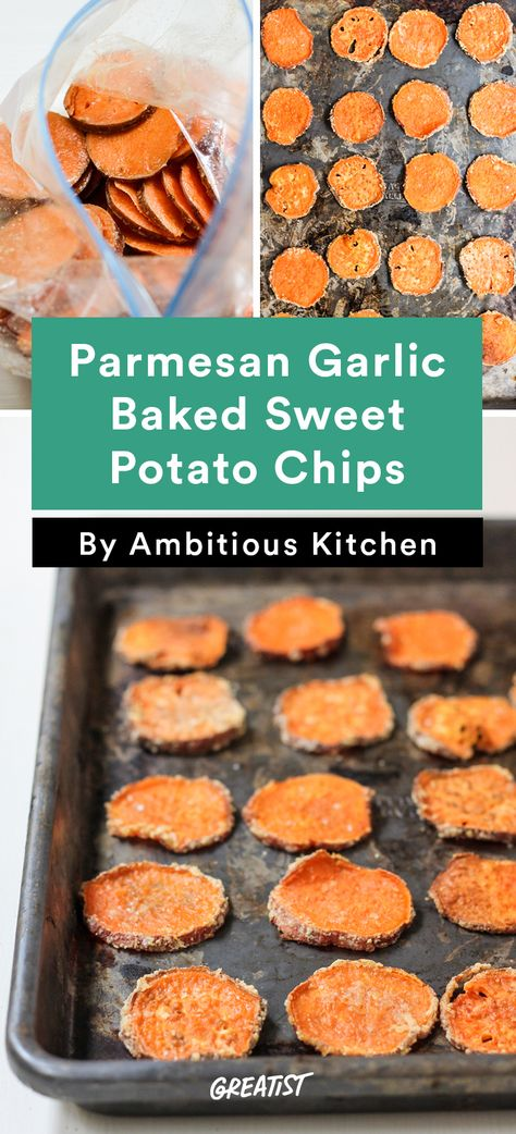 4. Parmesan Garlic Baked Sweet Potato Chips #healthy #portable #snacks http://greatist.com/eat/healthy-snacks-from-ambitious-kitchen