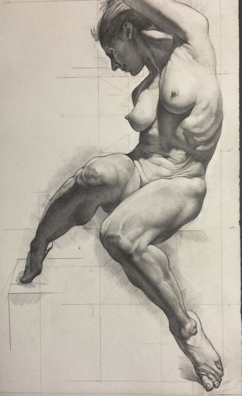 Female Nude Art Original Painting Drawing Charco