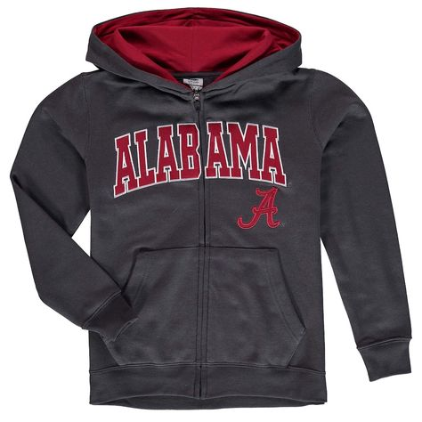 Youth Charcoal Alabama Crimson Tide Applique Arch & Logo Full-Zip Hoodie, Boy's, Size: YTH Medium, ALA CHARCO