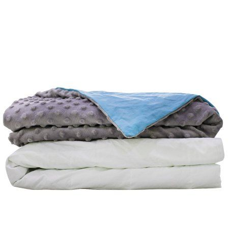 Cmfrt Cozy Weighted Blanket Set with Duvet Cover for Adults, Gray