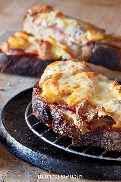 This hearty variation of the croque-monsieur—a ham and Gruyere cheese sandwich cloaked in bechamel sauce—includes roasted fingerling potatoes. #marthastewart #recipes #recipeideas #familydinner #weeknightdinners #familyfriendlyrecipes