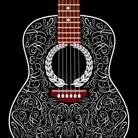 Grungy Background With Black Acoustic Guitar Stock Vector Sponsored Black Background Grungy Acousti Guitar Vector Black Acoustic Guitar Guitar Art