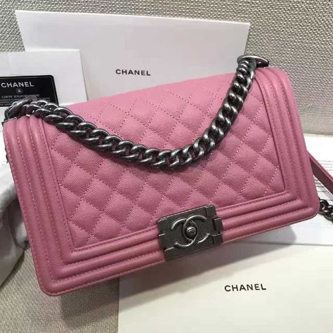 da6a682a867a Authentic Quality 1:1 Mirror Replica Chanel Medium Le Boy Bag Pink Caviar  Leather Palladium Hardware