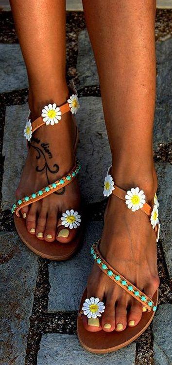 Details about  /Women Boho Flower Sandals Flip Flops Ladies Summer Beach Holiday Flat Shoes Size