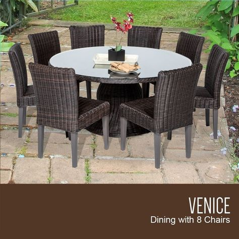 9 Piece Venice 60 Inch Outdoor Patio Dining Table With 8 Armless