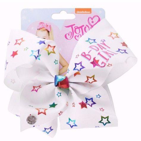 JoJo Bows Birthday Girl White Bow with Rainbow Stars - Large - Jojo Siwa