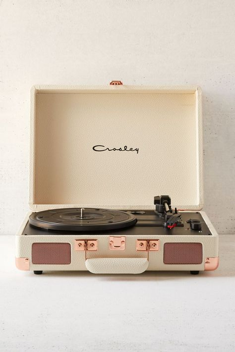 Check out Crosley UO Exclusive Cream + Rose Gold Cruiser Bluetooth Record Player from Urban Outfitters Bluetooth Record Player, Crosley Record Player, Portable Record Player, Stereo Speakers, Record Player Urban Outfitters, Cream Aesthetic, Rose Gold Aesthetic, Music Aesthetic, Travel Aesthetic