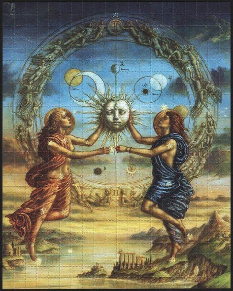 Gemini - limited edition fine art print from the zodiac series by Jake Baddeley Psychedelic Art, Fantasy Kunst, Fantasy Art, Gemini Art, Aquarius, Alchemy Art, Esoteric Art, Arte Obscura, Occult Art