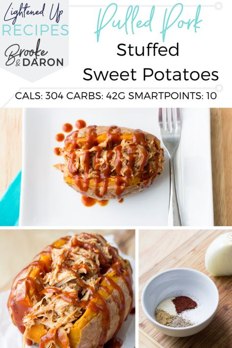 Stuffed Sweet Potatoes are a perfect easy weeknight meal! This slow cooker pulled pork recipe goes perfectly on top of your sweet potato for an all in one meal! #sweetpotatoes #pork #barbecue #movepraylove