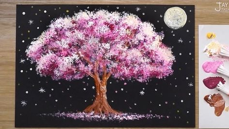 Full Moon Night Acrylic Painting Techniques Acrylic Painting Techniques Cherry Blossom Painting Diy Canvas Art Painting