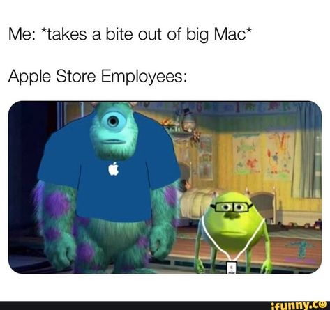 *takes a bite out of big Mac* Apple Store Employees: – popular memes on the site Me: *takes a bite out of big Mac* Apple Store Employees: – popular memes on the site Really Funny Memes, Stupid Funny Memes, Funny Relatable Memes, Haha Funny, Funny Posts, Funny Stuff, Rude Meme, Dank Memes Funny, Random Stuff