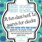 1st grade CCSS MD.C.3 telling time to the hour and half hour hall or classroom hunt!  $2