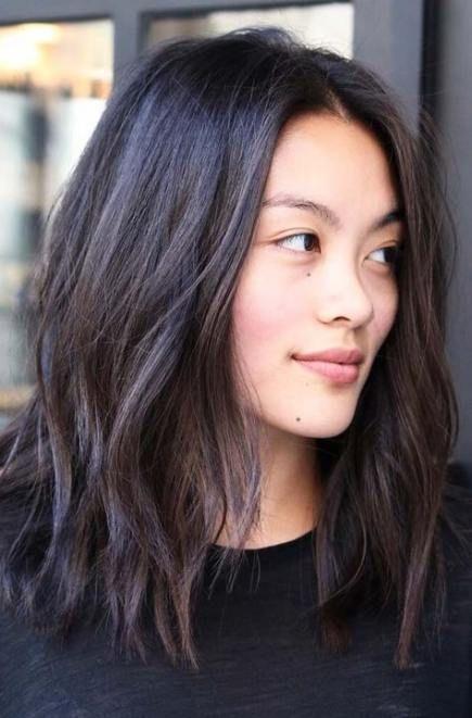 25 Super Ideas For Haircut Middle Part Bangs Medium Length Hair Styles Asian Hair Medium Hair Styles