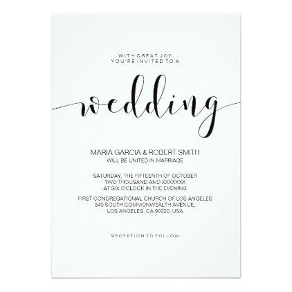 Simple Minimalist Calligraphy Wedding Invitation Zazzle Com Calligraphy Wedding Invitation Creative Wedding Invitations Beach Wedding Invitations