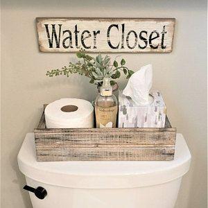 Blessed Farmhouse Style Box For Back Of Toilet Farmhouse Etsy Restroom Decor Bathroom Decor Small Bathroom Decor