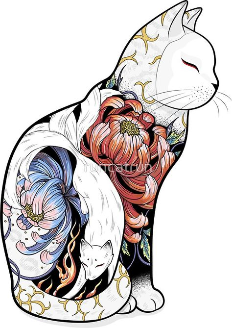 Kitsune Cat Tattoo by runcatrunYou can find Japanese tattoos and more on our website.Kitsune Cat Tattoo by runcatrun Kunst Tattoos, Bild Tattoos, Maori Tattoos, Irezumi Tattoos, Body Art Tattoos, Crow Tattoos, Phoenix Tattoos, Rabbit Tattoos, Borneo Tattoos