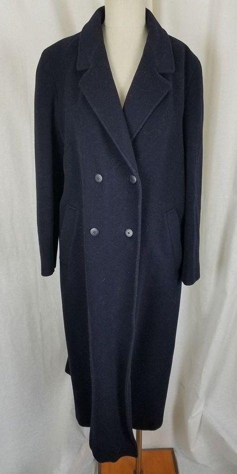 7d4c158e57b Vintage Liberty Navy Blue Cashmere Wool Long Maxi Peacoat Coat Womens 14  England  Liberty  Peacoat  Outdoor