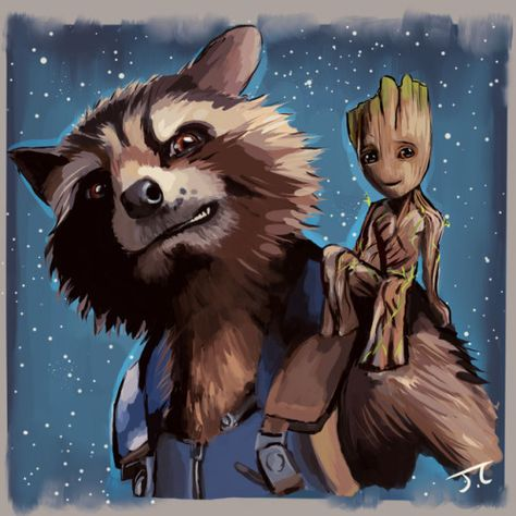 "givemtheolrazzledazzle: ""Rocket and baby Groot ♡ """