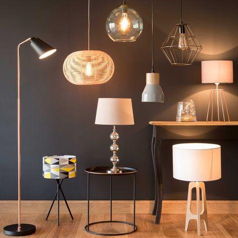 Lampe En Metal Cuivre Et Abat Jour Gris H 49 Cm Maisons Du Monde